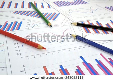 Financial graphics diagram for work business and economic - stock photo