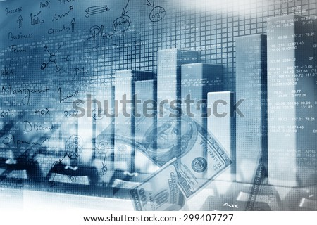Financial graphs and charts shows business growth, background image	 - stock photo