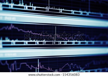 Financial graphs on the computer monitor - stock photo