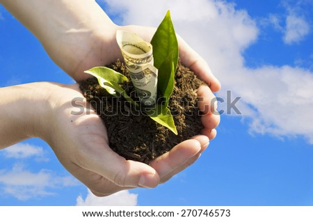 Financial growth. Business is growing.   Focus is on the one hundred dollar bill. - stock photo