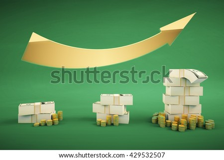 Financial growth concept with dollar banknote stacks, coins and upward arrow on green backrgound. 3D Rendering - stock photo