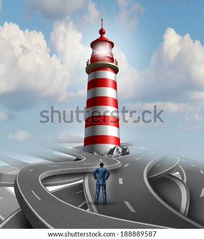 Financial guidance and business crisis solution concept with a businessman standing on a group of confusing roads. Guiding light from a lighthouse as a metaphor for finding success. - stock photo
