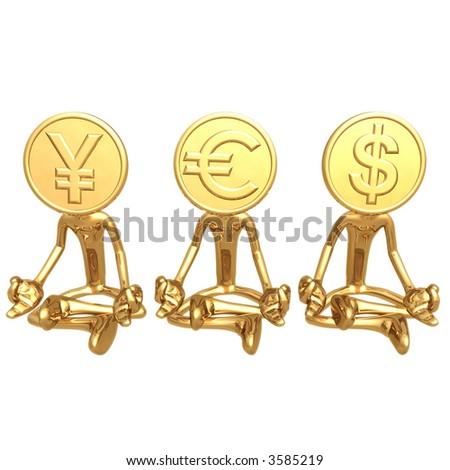 Financial Gurus Gold Coins Yen Euro Dollar - stock photo