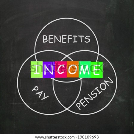 Financial Income Including Pay Benefits and Pension - stock photo