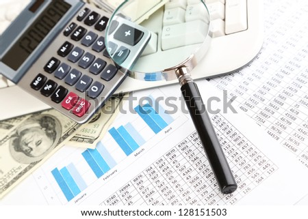 Financial information and money close-up - stock photo