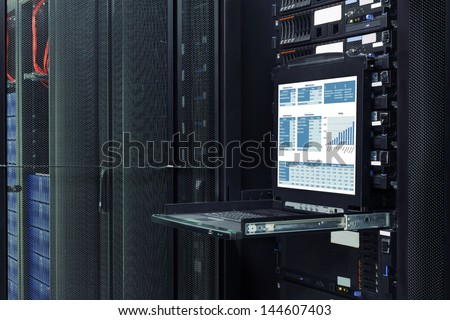 financial information show on the server computer display. - stock photo