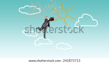 Financial investment.Businessman on clouds with dollars - stock photo
