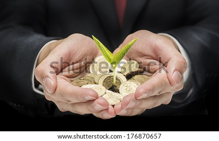 Financial investment concept - Handful with coins and single seed - stock photo