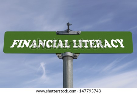Financial literacy road sign - stock photo