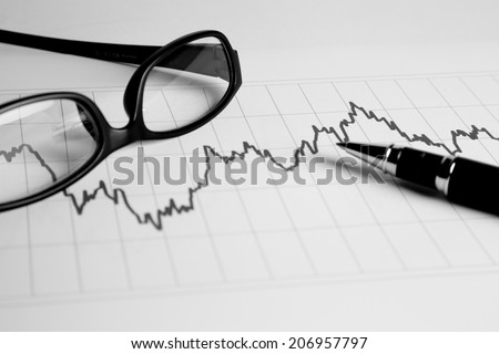 Financial management charts in black and white color - stock photo