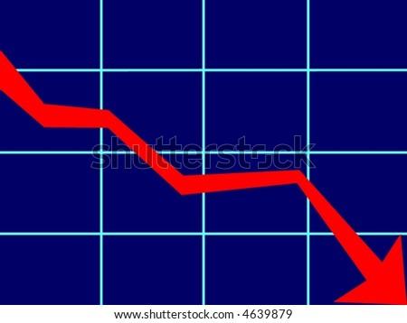financial market down - stock photo