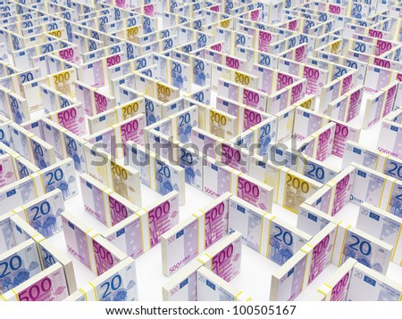 Financial Maze Labyrinth made of EURO banknotes. High resolution 3D rendering. - stock photo