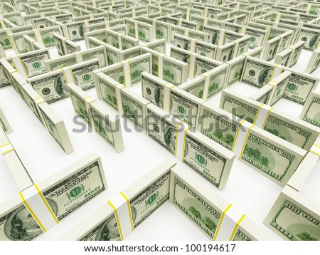 Financial Maze Labyrinth made of 100 usd banknotes. High resolution 3D rendering. - stock photo