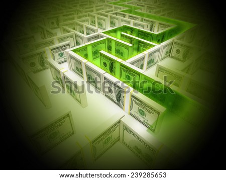 Financial Maze Labyrinth whith green path - stock photo