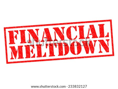 FINANCIAL MELTDOWN red Rubber Stamp over a white background. - stock photo