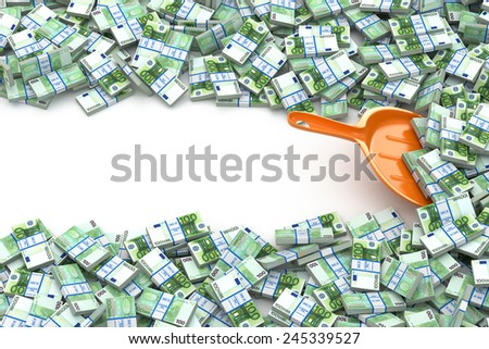 Financial money concept. Scoop and packs of euro. Space for text. 3d - stock photo