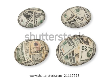 Financial nest eggs grow from a dollar to five dollars to ten dollars then twenty dollars.  Each egg has its own clipping path. - stock photo