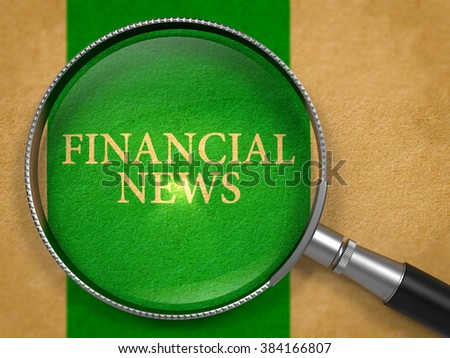 Financial News Concept through Magnifier on Old Paper with Green Vertical Line Background. 3D Render. - stock photo