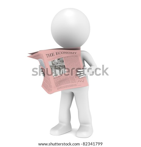 Financial News. 3D little human character Reading a Financial News Paper. - stock photo