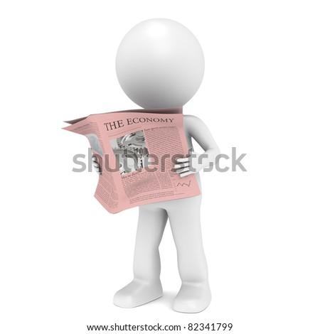 Financial News. 3D little human character Reading a Financial News Paper. - stock photo