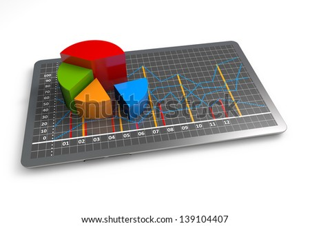 Financial pie charts as a concept - stock photo