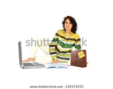 Financial planning accordion folder laptop pc opened book eye glasses woman sitting with smile looking away isolated on white background - stock photo