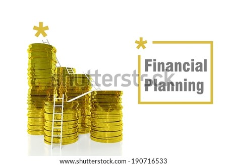 Financial planning concept, ladders on gold coins - stock photo