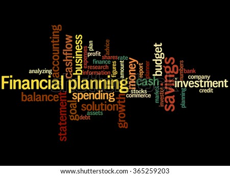 Financial planning, word cloud concept on black background. - stock photo