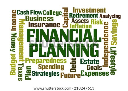 Financial Planning word cloud on white background - stock photo