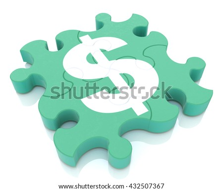 Financial puzzle when creating a design to information related to the economy and money. 3d illustration - stock photo