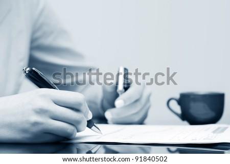 Financial reports analysis - stock photo