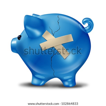 Financial rescue and savings recovery with a broken cracked blue piggy bank and repair tape to help save the finances as support and aid from credit problems due to too much debt. - stock photo