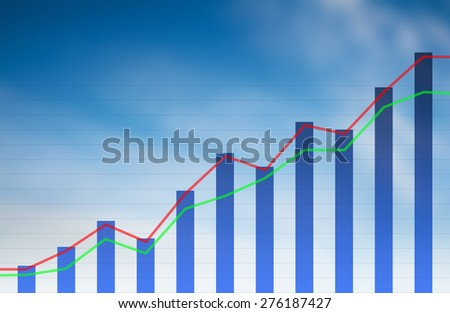 financial rise chart  - stock photo