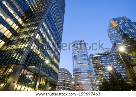Financial Skyscrapers in the Canary Wharf, City of London  - stock photo