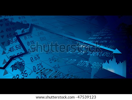 Financial stock market background with world map figures and graph - stock photo