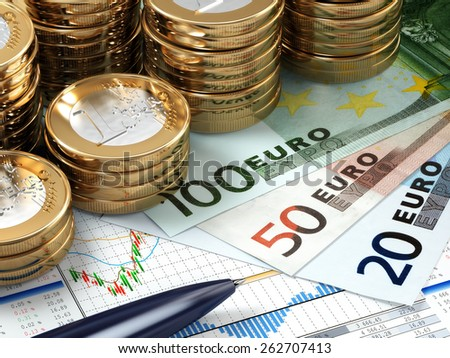 Financial stock market concept. Euro banknotes and coins. 3d - stock photo