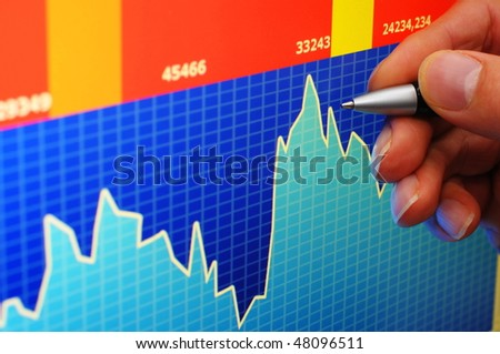financial stock market concept with hand and computer lcd display - stock photo