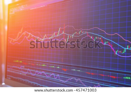 financial Stock market graph on screen display business concept background - stock photo