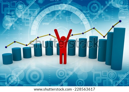 Financial success, business leader and progress chart  - stock photo