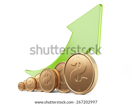 Financial success concept. Green arrow up and gold coins growth chart isolated on white background - stock photo