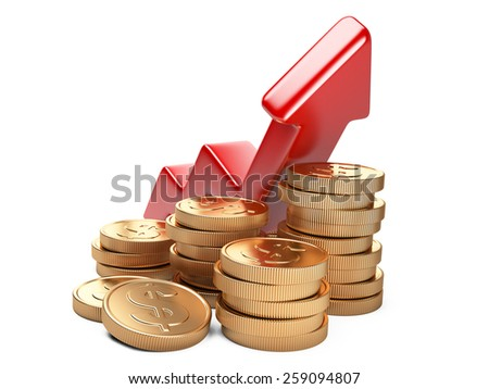 Financial success concept. Red arrow up and coins growth chart isolated on white background - stock photo