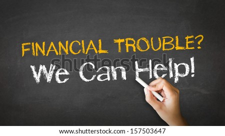 Financial Trouble Chalk Illustration - stock photo