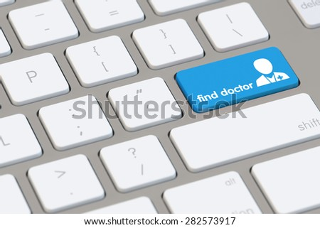 Find a doctor online with the internet as concept on a computer keyboard (3D Rendering) - stock photo