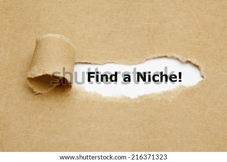 Find a Niche appearing behind torn brown paper.  - stock photo