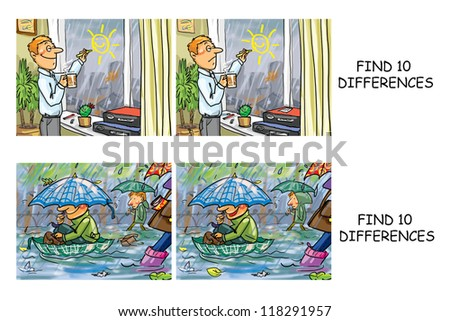 Find 10 differences comics, spot the differences visual puzzle, set 25(other sets are also available) - stock photo