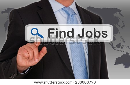 Find Jobs - Businessman with touchscreen - stock photo