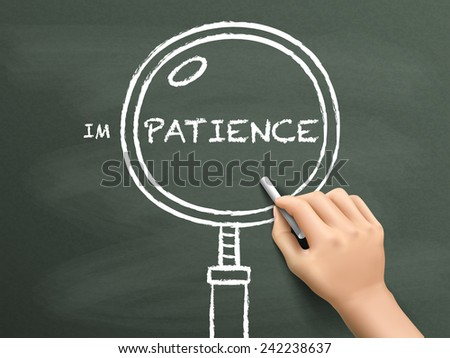 find out patience with magnifying glass drawn by hand over chalkboard  - stock photo