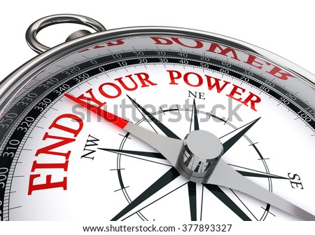 find your power red motivation message on concept compass, isolated on white background - stock photo