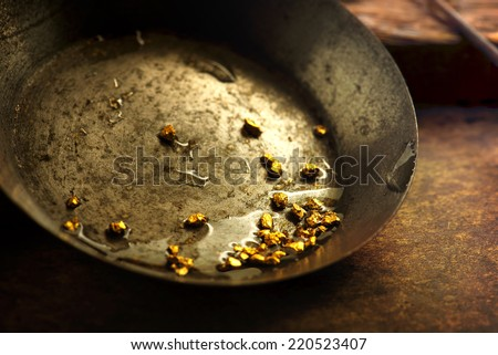 Finding gold. gold panning or digging. Gold on wash pan. - stock photo