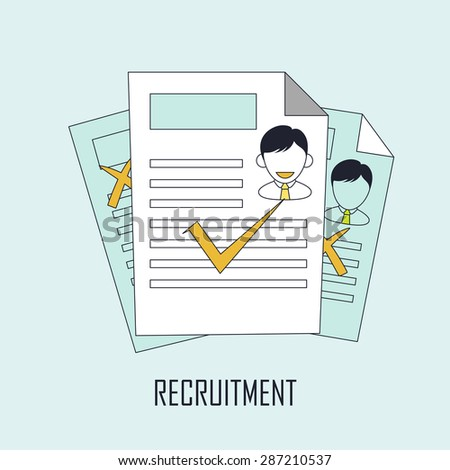 finding job concept: recruitment in line style - stock photo